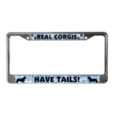 Real Corgis Have Tails License Plate Frame Blue