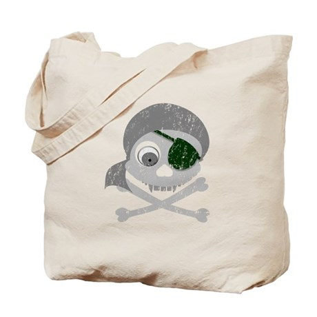 Distressed Gray Pirate Skull Tote Bag