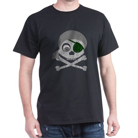 Distressed Gray Pirate Skull Dark T-Shirt