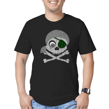 Distressed Gray Pirate Skull Men's Fitted T-Shirt