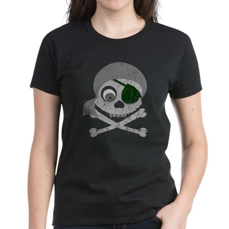 Distressed Gray Pirate Skull Women's Dark T-Shirt