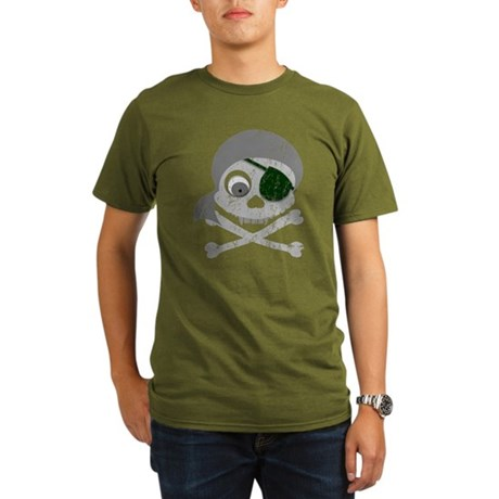 Distressed Gray Pirate Skull Organic Men's T-Shirt