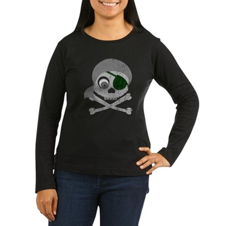 Distressed Gray Pirate Skull Women's Long Sleeve D