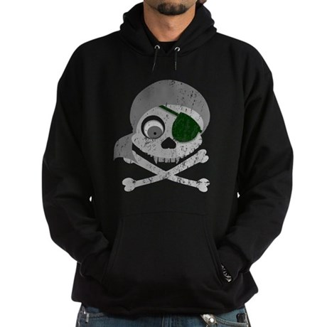 Distressed Gray Pirate Skull Hoodie (dark)