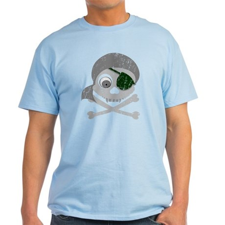 Distressed Gray Pirate Skull Light T-Shirt