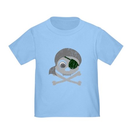 Distressed Gray Pirate Skull Toddler T-Shirt