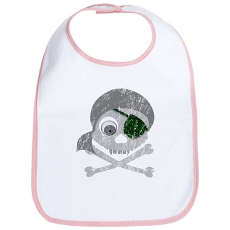 Distressed Gray Pirate Skull Bib
