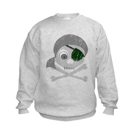 Distressed Gray Pirate Skull Kids Sweatshirt
