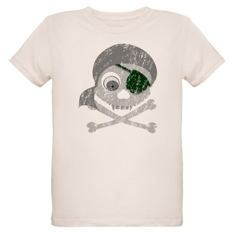Distressed Gray Pirate Skull Organic Kids T-Shirt