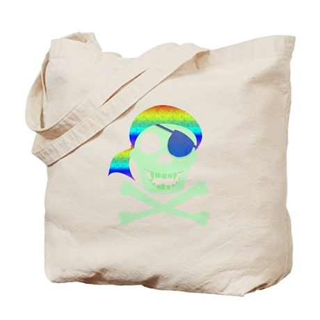 Green Pirate Skull Tote Bag