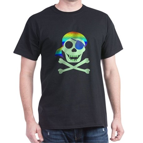 Green Pirate Skull Dark T-Shirt