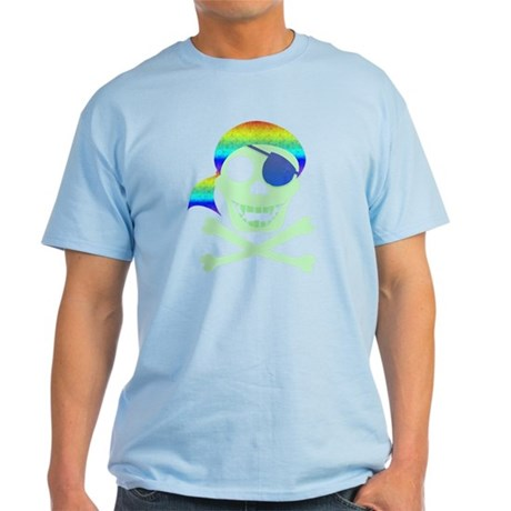 Green Pirate Skull Light T-Shirt