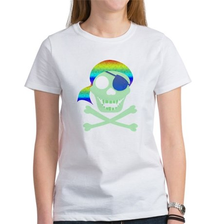Green Pirate Skull Women's T-Shirt