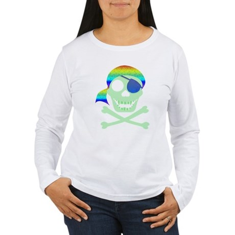 Green Pirate Skull Women's Long Sleeve T-Shirt