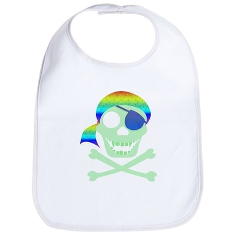 Green Pirate Skull Bib