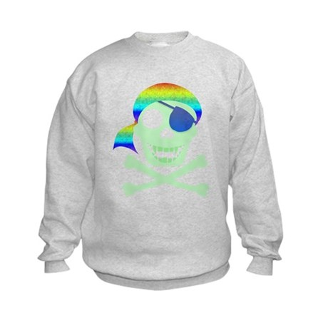 Green Pirate Skull Kids Sweatshirt