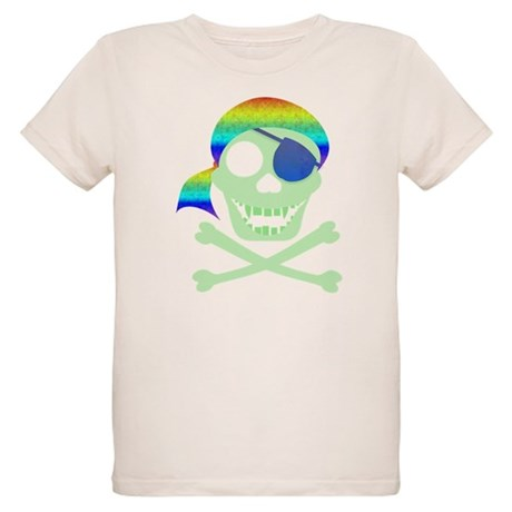 Green Pirate Skull Organic Kids T-Shirt