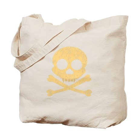Distressed Orange Skull Tote Bag