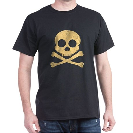 Distressed Orange Skull Dark T-Shirt