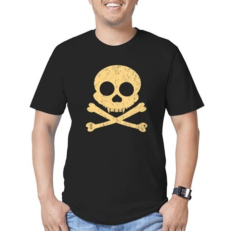 Distressed Orange Skull Men's Fitted T-Shirt (dark