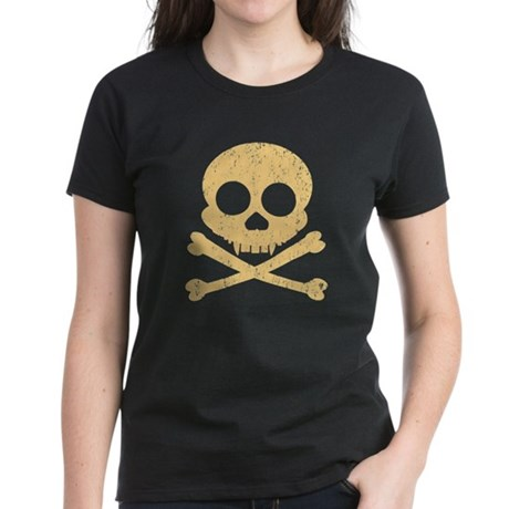 Distressed Orange Skull Women's Dark T-Shirt