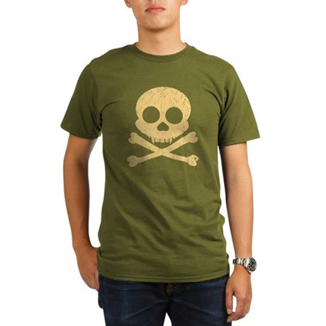 Distressed Orange Skull Organic Men's T-Shirt (dar