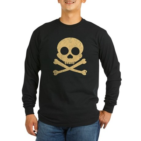 Distressed Orange Skull Long Sleeve Dark T-Shirt