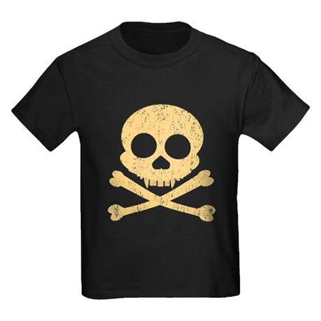 Distressed Orange Skull Kids Dark T-Shirt