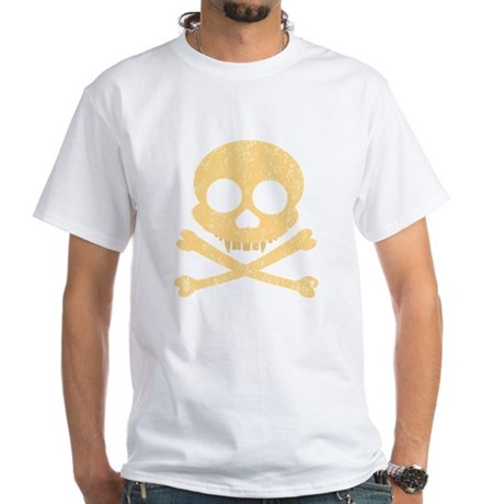 Distressed Orange Skull White T-Shirt
