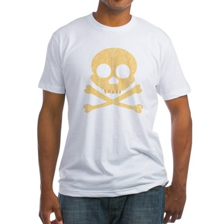 Distressed Orange Skull Fitted T-Shirt