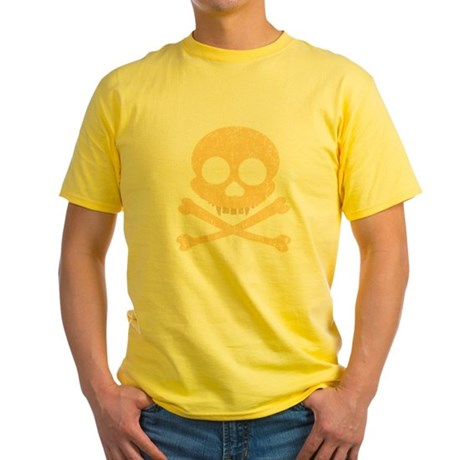 Distressed Orange Skull Yellow T-Shirt