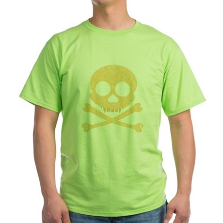 Distressed Orange Skull Green T-Shirt