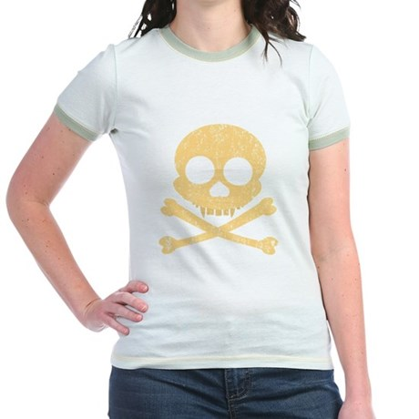 Distressed Orange Skull Jr. Ringer T-Shirt