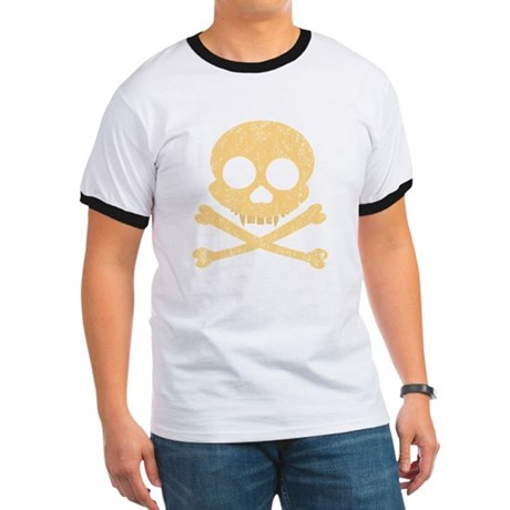 Distressed Orange Skull Ringer T