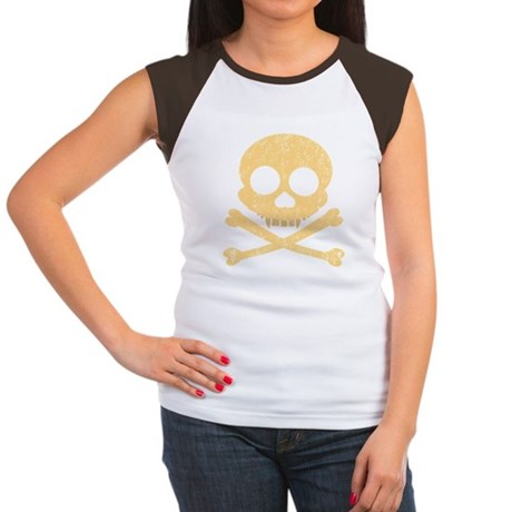 Distressed Orange Skull Women's Cap Sleeve T-Shirt