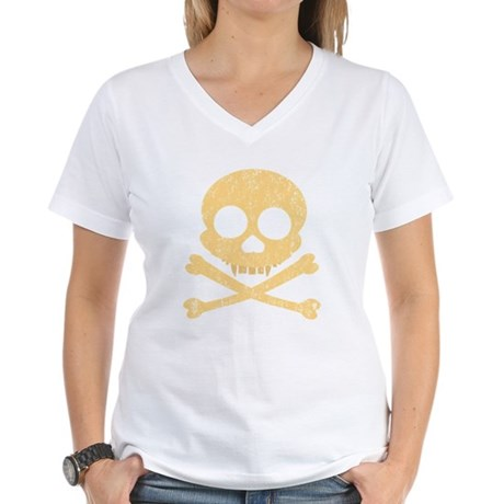 Distressed Orange Skull Women's V-Neck T-Shirt