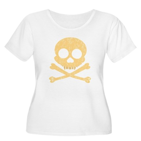 Distressed Orange Skull Women's Plus Size Scoop Ne