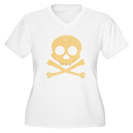 Distressed Orange Skull Women's Plus Size V-Neck T