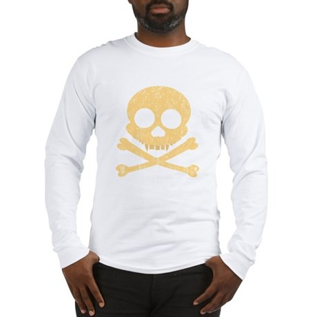 Distressed Orange Skull Long Sleeve T-Shirt