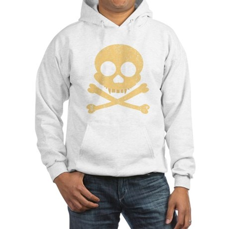 Distressed Orange Skull Hooded Sweatshirt