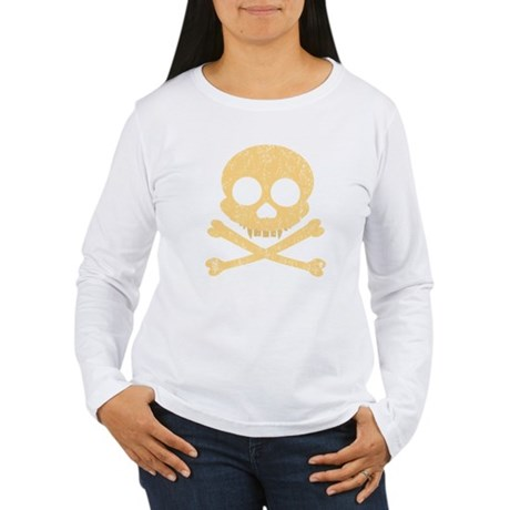 Distressed Orange Skull Women's Long Sleeve T-Shir