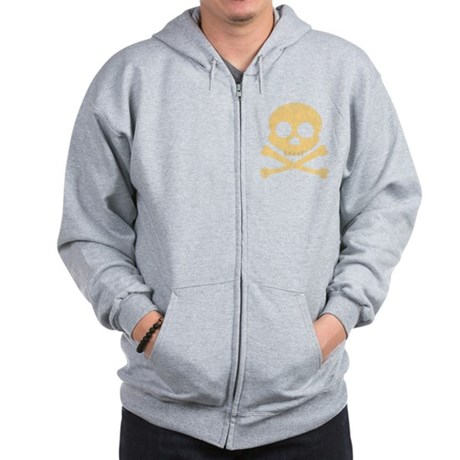 Distressed Orange Skull Zip Hoodie