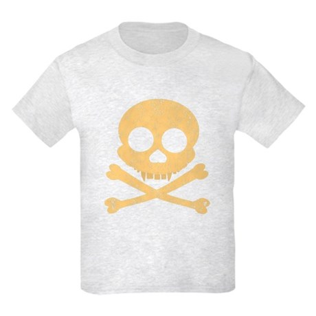 Distressed Orange Skull Kids Light T-Shirt
