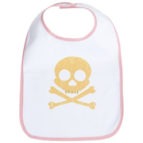 Distressed Orange Skull Bib