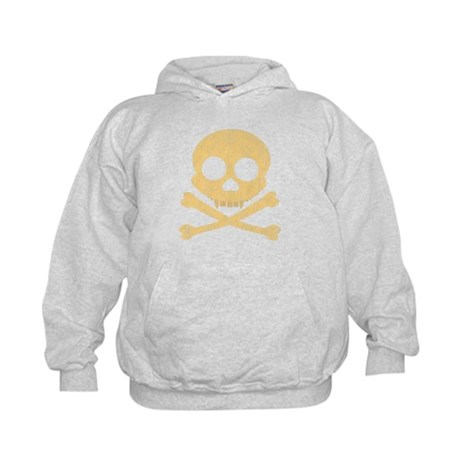 Distressed Orange Skull Kids Hoodie