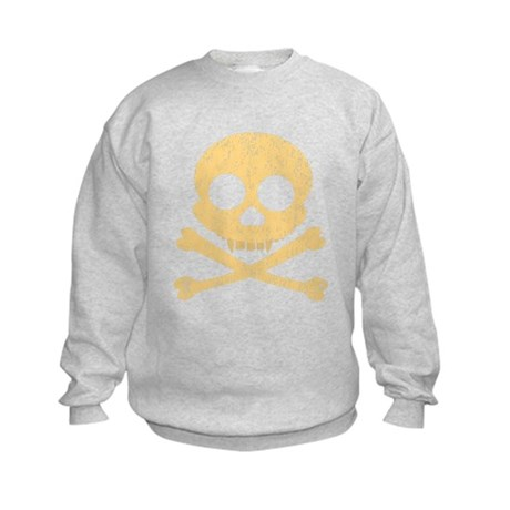 Distressed Orange Skull Kids Sweatshirt