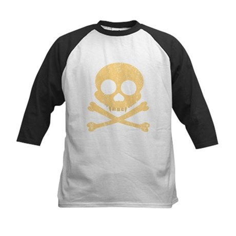 Distressed Orange Skull Kids Baseball Jersey
