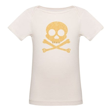 Distressed Orange Skull Organic Baby T-Shirt