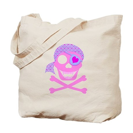 Pink Pirate Skull Tote Bag