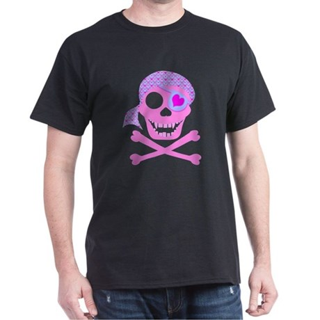 Pink Pirate Skull Dark T-Shirt